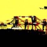 クレーンと飛行機の写真素材