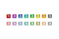 ガラスのような質感の矢印(4パターン)