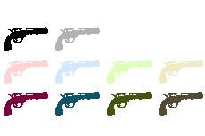 銃のアイコン(11パターン)(透過GIF)