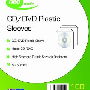 NEO 80 MICRON PP CD DVD SLEEVES 100 PACK