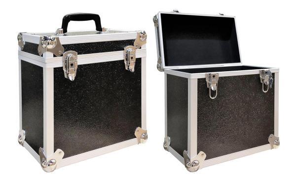 neo lp 50 vinyl record storage case box in black