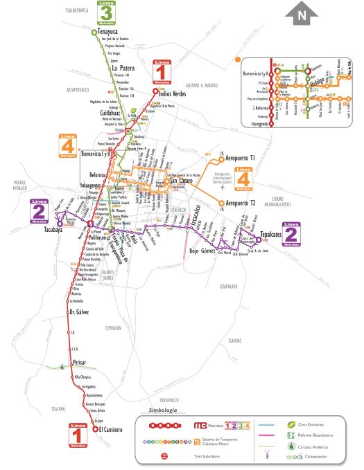 Mapa del metrobús de  México DF con la línea 4