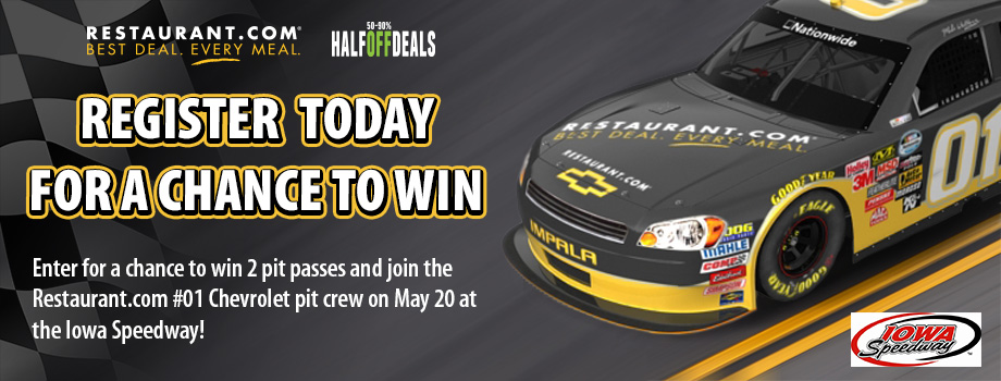 Register to Win 2 Pit Passes to the Nationwide Series May 20th race at the Iowa Speedway!