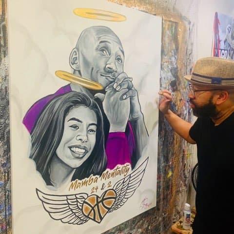 Kobe & Gianna Bryant Portrait by C. Ray Art