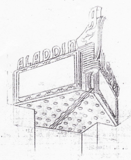 Sketch for Aladdin Marquee Neon, c. 1951