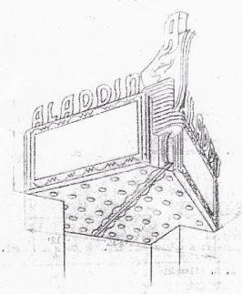 Sketch for Aladdin Marquee Neon, c. 1951
