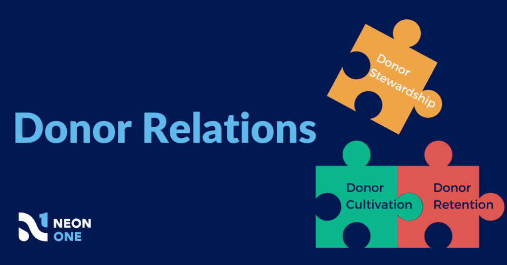 Donor Relations Puzzle. Donor stewardship is one piece, alongside donor cultivation and donor retention