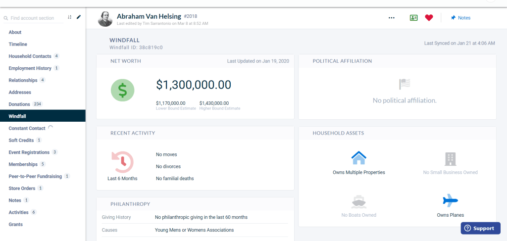 The Windfall integration in Neon CRM's Fundraising software shows wealth data for donors such as net worth and philanthropy.