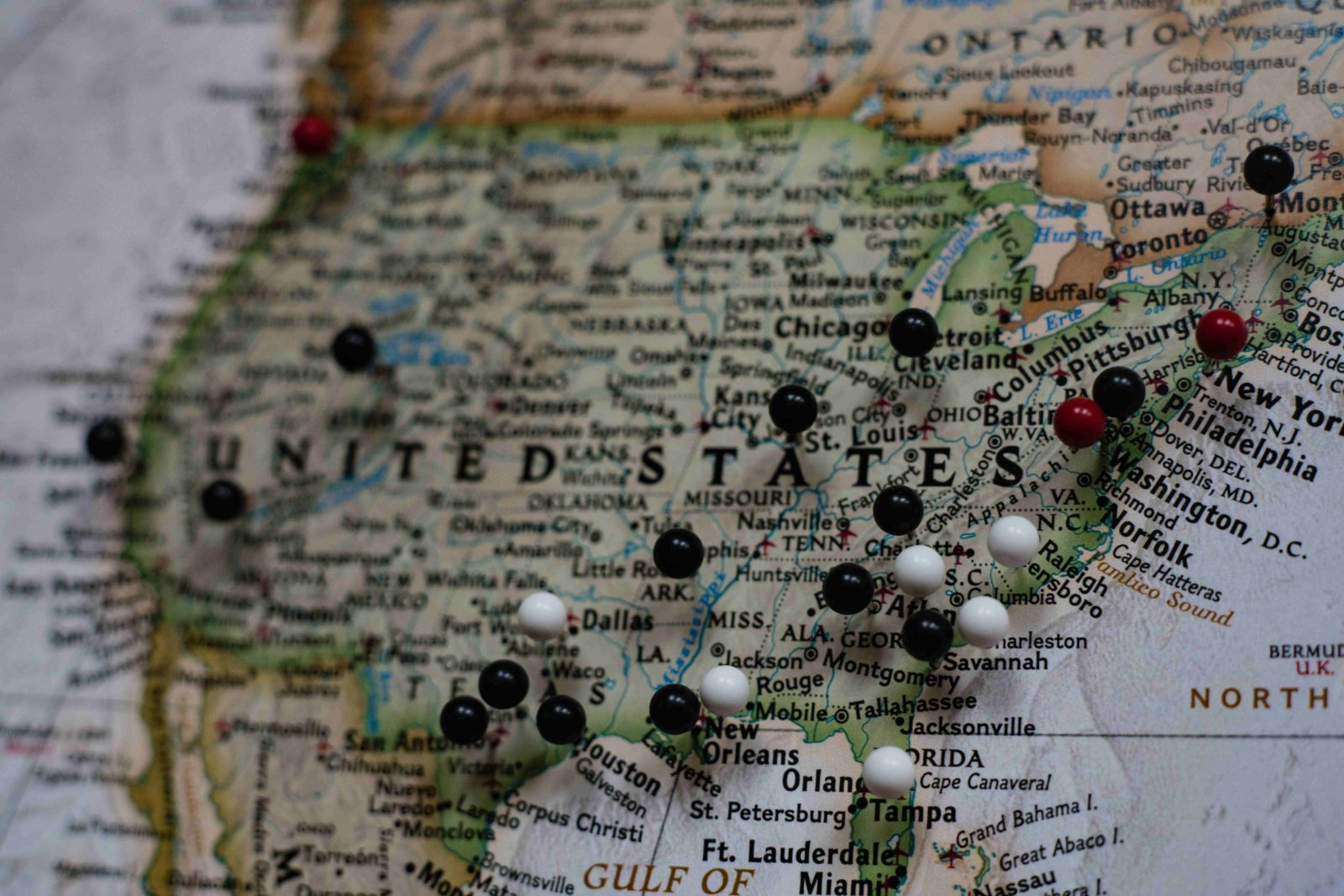 Map of United States with push pins in it