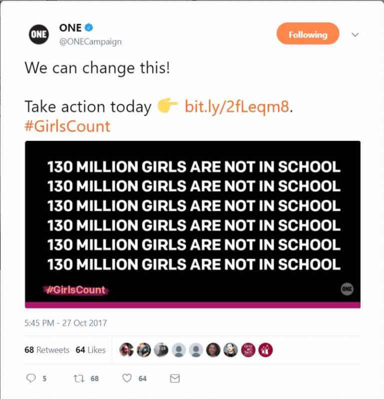ONE nonprofit social example