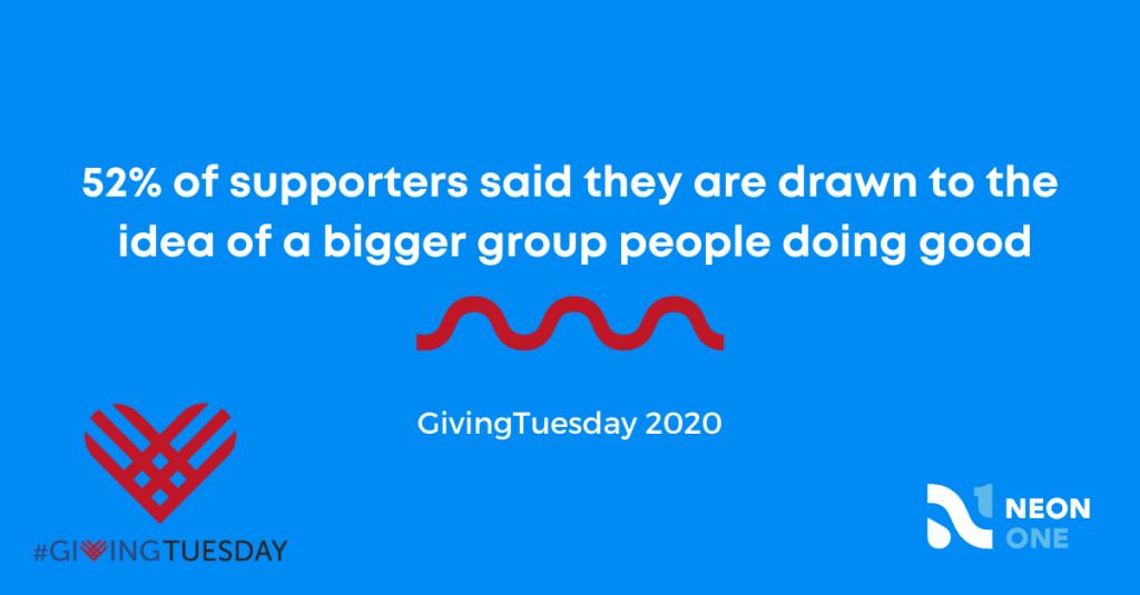 givingtuesday statistic: 52% of supporters said they are drawn to the idea of a bigger group of people doing good