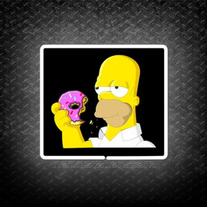 Homer Simpson Eat Donut 3D Neon Sign