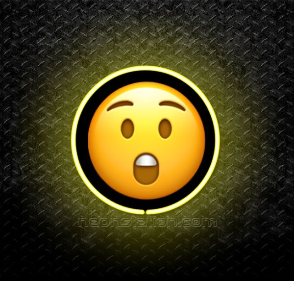 Astonished Face Emoji 3D Neon Sign