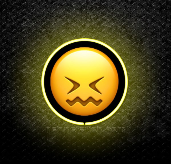 Confounded Face Emoji 3D Neon Sign