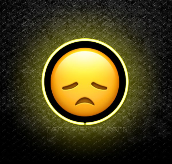 Disappointed Face Emoji 3D Neon Sign