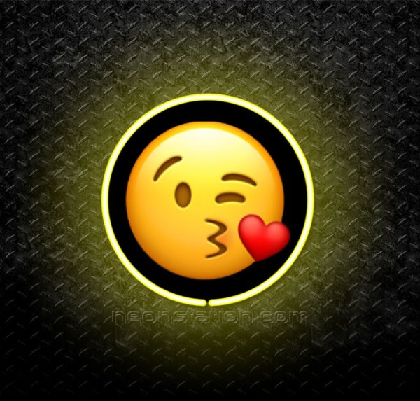 Face Blowing A Kiss Emoji 3D Neon Sign