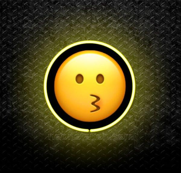 Kissing Face Emoji 3D Neon Sign