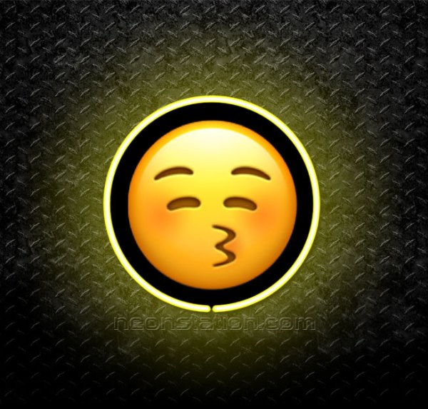 Kissing Face With Closed Eyes Emoji 3D Neon Sign