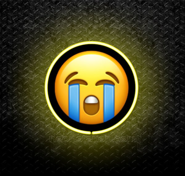 Loudly Crying Face Emoji 3D Neon Sign