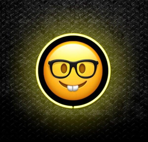 Nerdy Face Emoji 3D Neon Sign