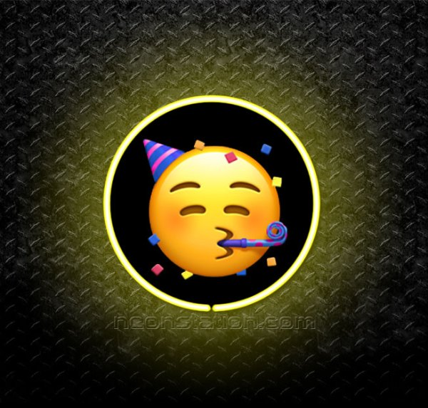 Party Face Emoji 3D Neon Sign