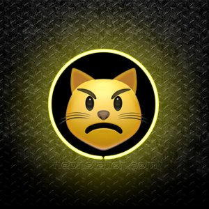 Pouting Cat Face Emoji 3D Neon Sign