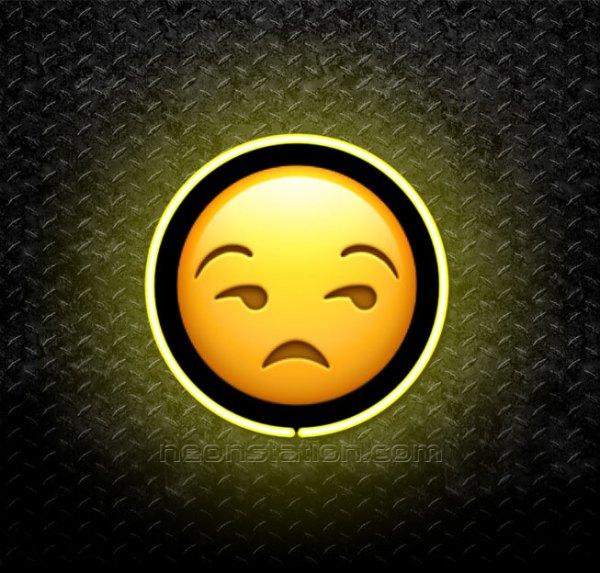 Unamused Face Emoji 3D Neon Sign