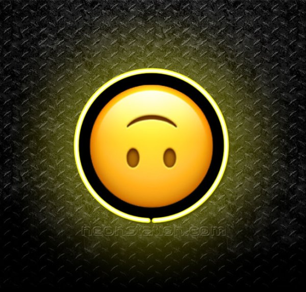 Upside-Down Face Emoji 3D Neon Sign