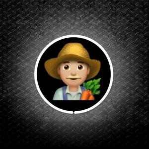 Man Farmer With Blonde Hair Emoji 3D Neon Sign