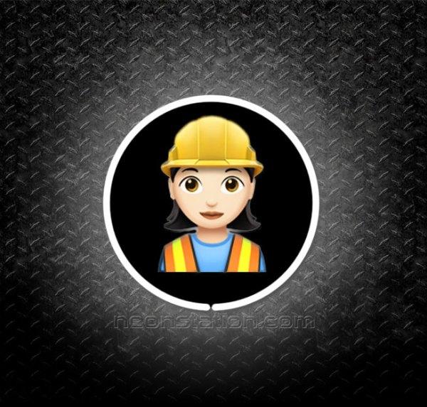Woman Construction Worker Emoji 3D Neon Sign