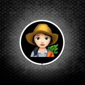 Woman Farmer With Black Hair Emoji 3D Neon Sign
