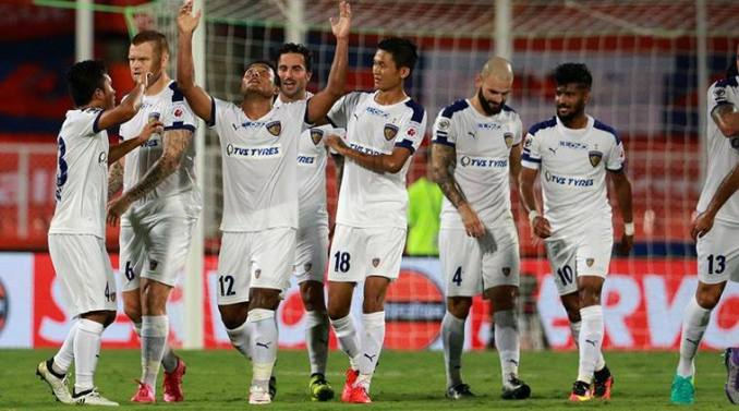 Jeje score a stunner goal and put Chennaiyin FC in front. source:neoprimesports.com