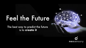 "[image description: Black background with a mans hand holding a glowing drawing of a human brain.overlayed is an abstract connection graph in white. Text says ""Feel the future, the best way to predict the future is to make it""]"
