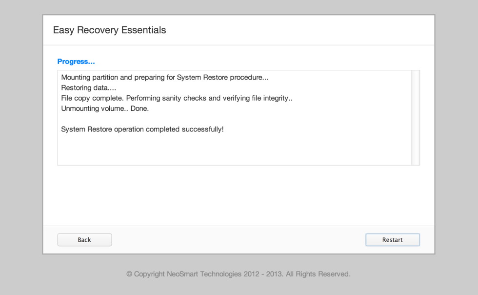EasyRE Restore Feature