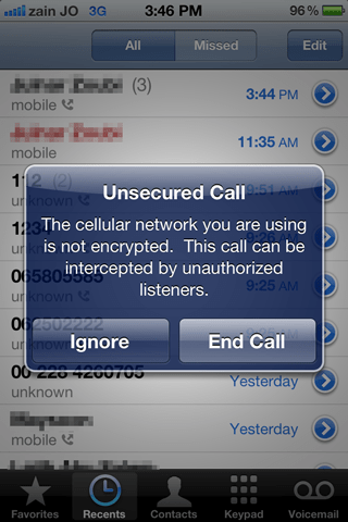 The cellular network you are using is not encrypted. This call can be intercepted by unauthorized listeners.