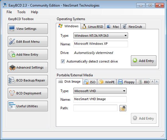 EasyBCD adding WinXP entry