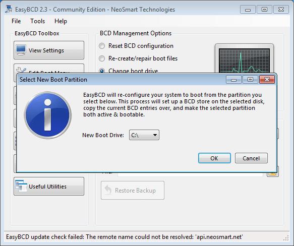 EasyBCD change boot device screen