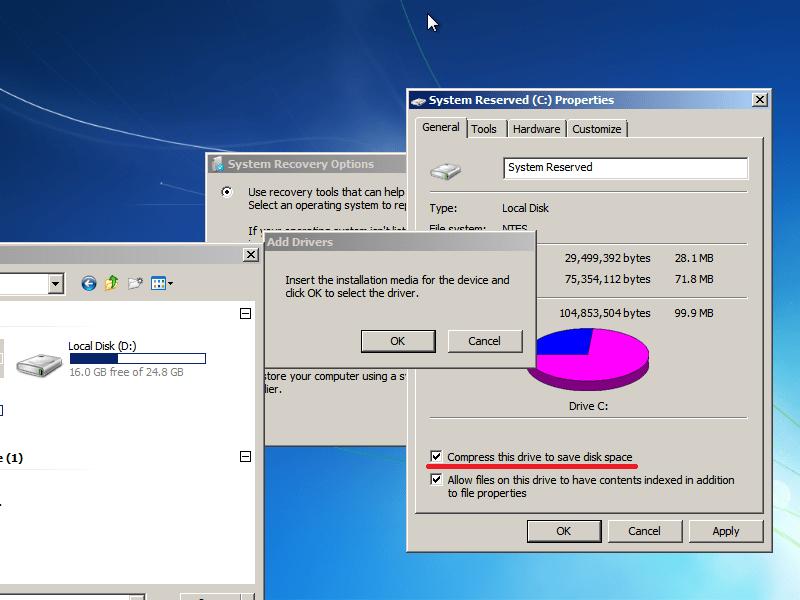 Hard drive compression option screen
