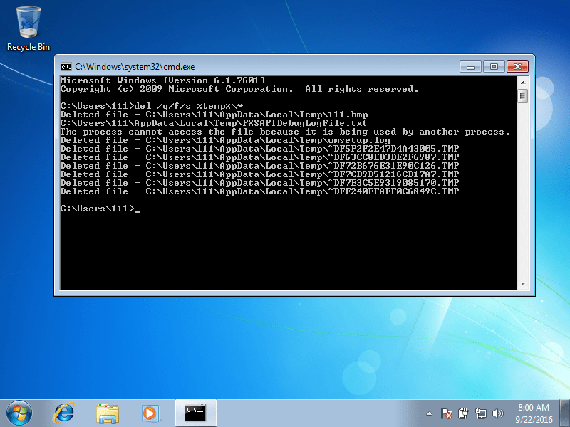 Deleting temp files using Command Prompt in Windows 7