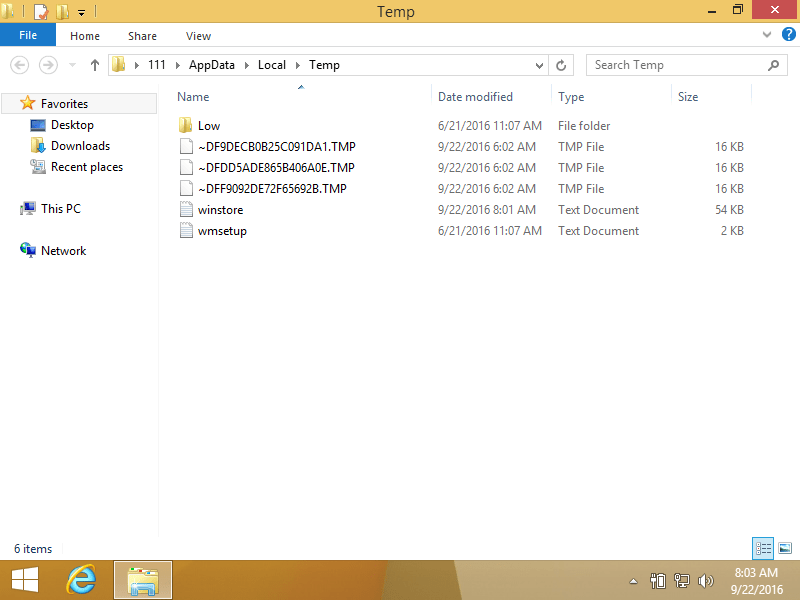 Deleting temp files using File Explorer in Windows 8