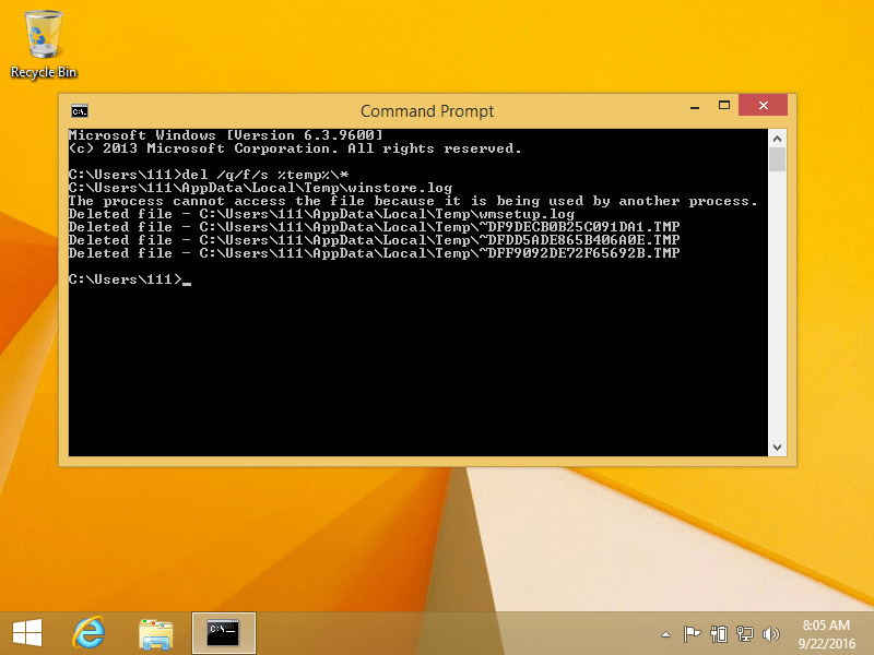 Deleting temp files using Command Prompt in Windows 8