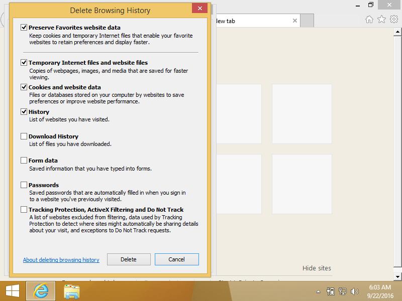 Internet Options screen in Internet Explorer 9
