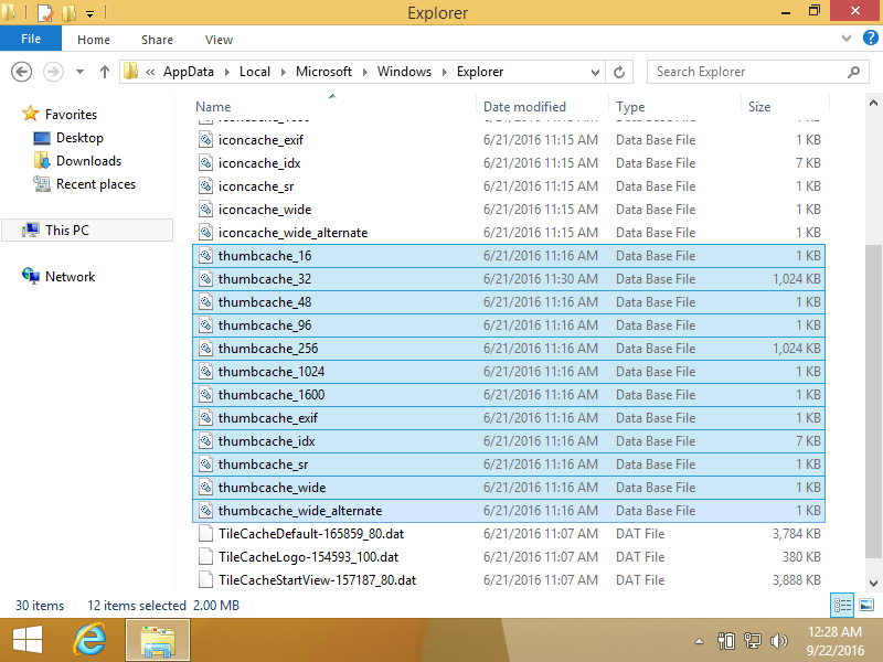 Thumbnails folder in Windows 8