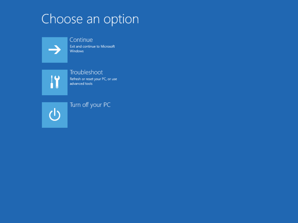 Windows 8 Advanced Startup screen
