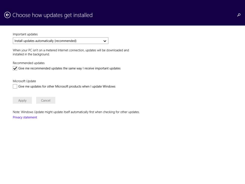 Windows updates screen