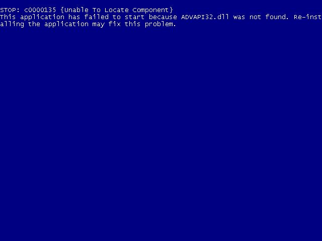 Windows XP, Vista, 7 Advapi32 dll not found error screen
