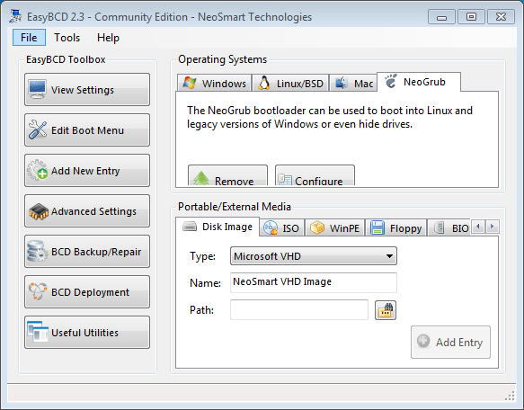 Adding NeoGrub to BCD storage with EasyBCD
