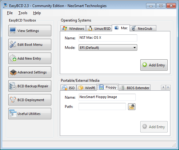 EasyBCD adding new Floppy entry screen