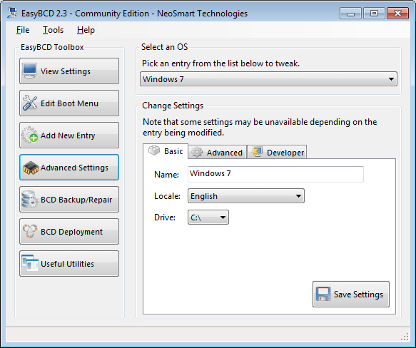 EasyBCD advanced settings screen - basic tab