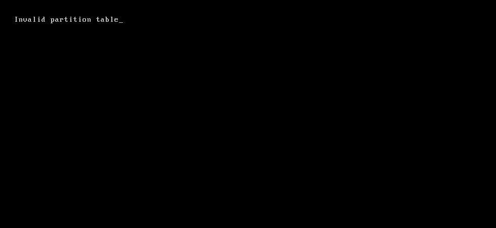 Invalid partition table error screen
